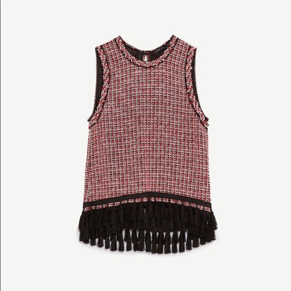 a29e7cddc8952 Zara Tweed Tassle Sleeveless Black and Red Top